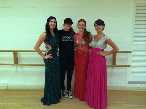 Senior Dance Company girls came to visit Debbi at thestudio before they headed to their Prom.Amy Lynch, Debbi Gould, Julie Doty, Katie Laquidara