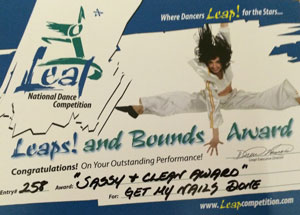 """Sassy + Clean Award for """"Get My Nails Done"""" at Leap National Dance Competition"""