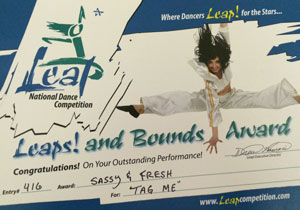 """Sassy & Fresh award for """"Tag Me"""" at Leap National Dance Competition"""