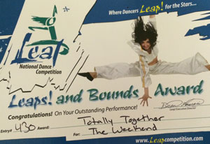 """Totally Together Award for """"The Weekend"""" at Leap National Dance Competition"""
